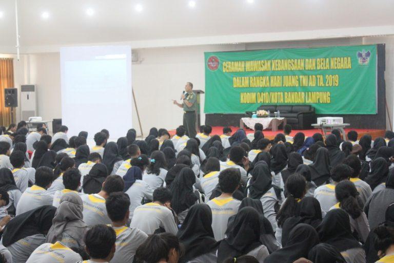 Hari Juang TNI AD Tahun 2019, Dandim 0410/KBL Kolonel Inf Romas Herlandes Berikan Wasbang dan Bela Negara di ITERA